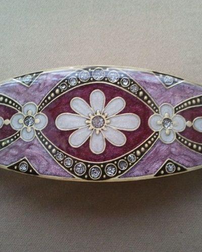 Pasador esmaltado de Menorca 3 Flores rosa y granate.