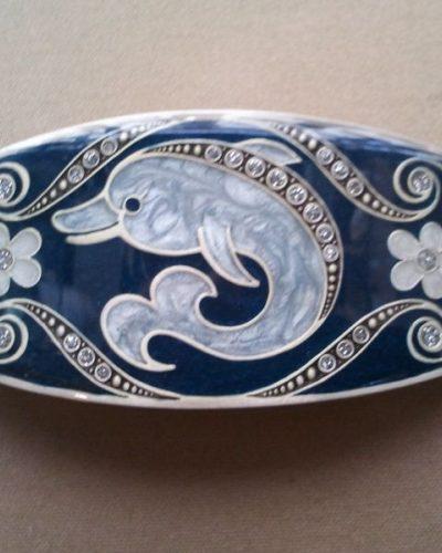 Pasador esmaltado de Menorca Delfín azul.