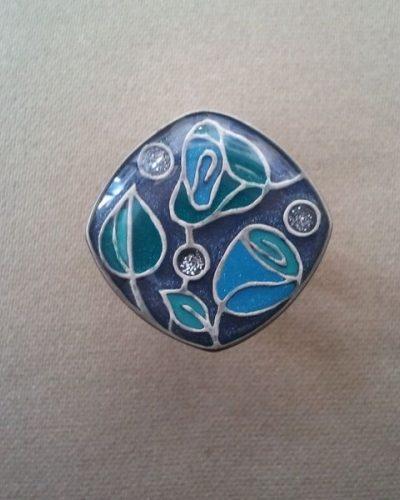 Anillo Esmaltado de Menorca Cuadrado azul