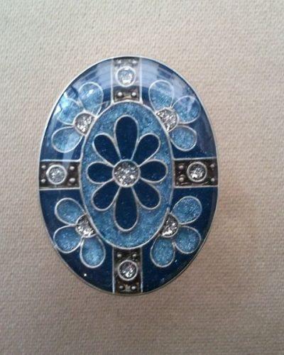 Anillo Esmaltado de Menorca Ovalado azul.