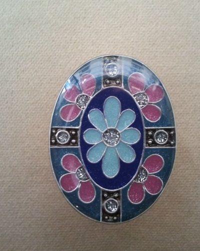 Anillo Esmaltado de Menorca Ovalado azul/rosa