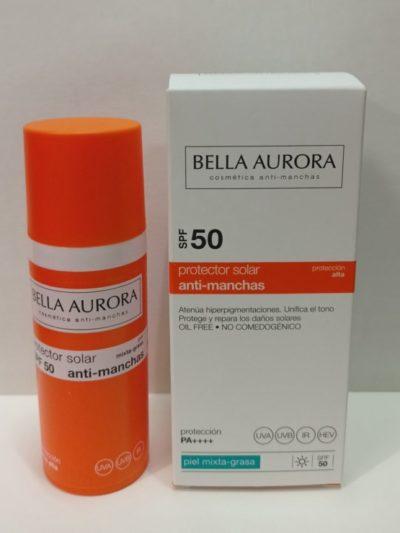 Bella Aurora Gel Crema Solar Antimanchas SPF 50, 50ml. Piel mixta-grasa. Oil Free.
