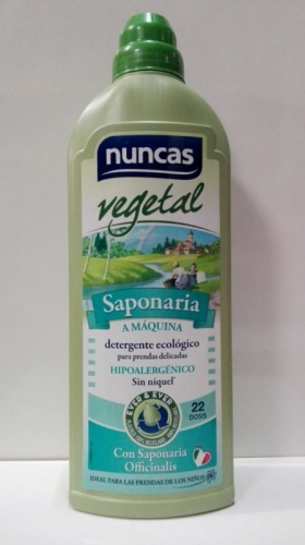 Nuncas 100% Vegetal, Saponaria a máquina-Detergente Hipoalergénico para prendas delicadas, 1l.